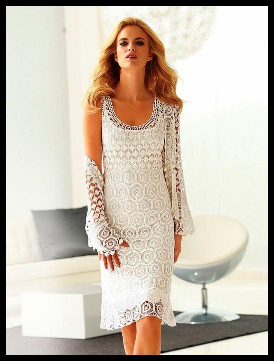 Vestido Branco Longo De Crochê Passo A Passo Luanna Pimentel